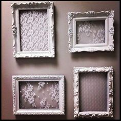 This could be a cool diy for centerpieces, but with black lace. DIY: Repurposed Frames - spray painted white and lace glued into the opening and you have shabby chic wall art or a decorative way to store and display your jewelry - Jess Be Me Shabby Chic Wall Art, Shabby Chic Bedrooms, Shabby Chic Kitchen, Shabby Chic Homes, Shabby Chic Style, Shabby Chic Furniture, Shabby Chic Decor, Shabby Chic Picture Frames, Shabby Chic Crafts