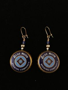 Blue Moon Brewing Company Earrings by bumbalilliesbling on Etsy