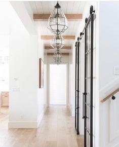 Hallway lighting   #lightingdesign #lighting #hallway #moderfarmhouse #blackandwhite #woodfloors #homedecor #homeimprovement #interiordesign