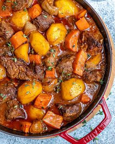 Made with tender meat chunks, carrots, and potatoes in a deliciously seasoned sauce on a stove-top. Made with tender meat chunks, carrots, and potatoes in a deliciously seasoned sauce on a stove-top. Cooker Recipes, Crockpot Recipes, Soup Recipes, Healthy Recipes, Healthy Beef Stews, Recipies, Dinner Recipes, Game Recipes, Noodle Recipes