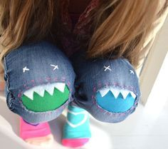 Lustige Flicken an kaputten Kinderhosen: Das Knie wird zum Dinosaurier #diy