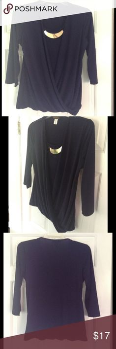 NWOT 3/4 Sleeve Midnight Blue Draped Blouse Attached accent piece and draped effect to bottom hem Candid Soul Tops Blouses