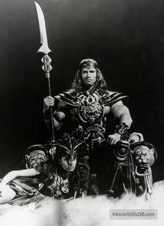 Conan The Barbarian promo shot of Arnold Schwarzenegger