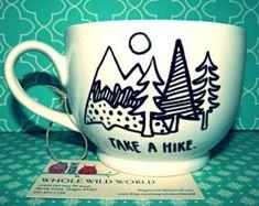 "Coffee Mug: ""Take a Hike"" Large18oz Hand Illustrated Coffee Cup"