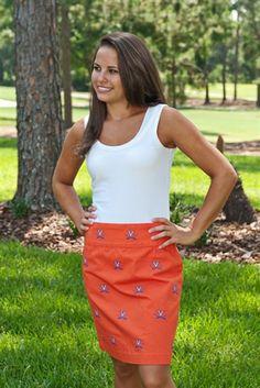 Women's Embroidered Stadium Skirt - University of Virginia (Orange) by Pennington & Bailes.  Buy it @ ReadyGolf.com