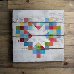 We are so in love with this Pieces of My Heart Barn Quilt. Each of our barn quilts is hand painted and sealed for indoor or outdoor use. Available...