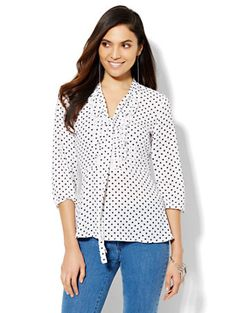 Shop Ruffled Peplum Blouse - Polka-Dot . Find your perfect size online at the best price at New York & Company.