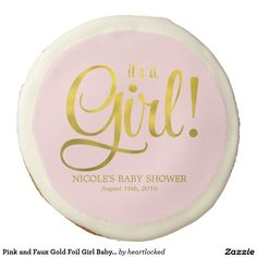 Pink and Faux Gold Foil Girl Baby Shower Sugar Cookie