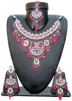 Light Jewellery Jodha Akbar Indo S61 Silver Tone Magenta Hind Jewellery Necklace