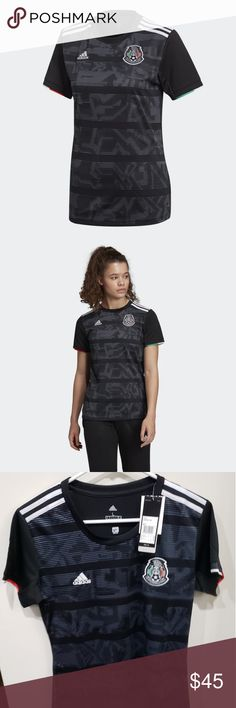 Adidas Women's Soccer Mexico Home Jersey Adidas Mexico Home Jersey 2019 Lightweight, athletic-fit Raglan design for enhanced motion Style and Design Woven team crest on left chest adidas design on shoulders adidas logo on right chest adidas Other Adidas Soccer Jerseys, Mexico Soccer, Stripes Design, Ladies Boutique, Black Adidas, Adidas Logo, Soft Fabrics, Adidas Women, Outfit Of The Day