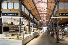 Marché San Miguel à Madrid - Intérieur C'est un marché où vous pourrez trouver le meilleur des produits espagnols, plutôt un endroit où boire un verre et consommer tapas et pintxos qu'un endroit où acheter son poisson et ses pommes de terre (si vous voyez ce que je veux dire). L'endroit est très beau. Le marché à l'architecture en fer date de 1916.