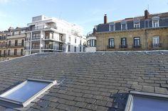 Trabajos de herrería en el Centro Comercial La Bretxa de Donostia-San Sebastián. Fotografía desde el tejado.