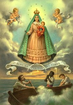 A devotional image of the Virgin of Caridad del Cobre, the patroness of Cuba.Some time around the year 1600, two native Indians, Rodrigo and Juan de Hoyos, together with a ten-year-old slave boy, Juan Moreno, went out looking for the salt needed to preserve the meat of the Barajagua slaughter house, which supplied the workers and inhabitants of Santiago del Prado, now known as El Cobre. That day they were just able to reach Cayo Francés, halfway across the Bay of Nipe, where they encamped to esc