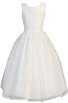 Pearl Beaded Lattice Work Shantung & Organza First Holy Communion Dress (Girls Sizes 5 to 14)