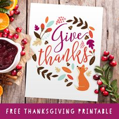 """The Holiday season is here! Get this free """"Give Thanks"""" printable for Thanksgiving! A perfect addition to your Thanksgiving decor! Source: Give Thanks - Free Printable - Three Cheers + Co Free Thanksgiving Printables, Thanksgiving Crafts, Thanksgiving Decorations, Fall Crafts, Free Printables, Thanksgiving Activities, Happy Thanksgiving, Printable Art, Autumn Activities For Kids"""
