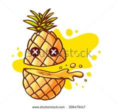Vector illustration of colorful pineapple cut in half with eyes and yellow spot on white background. Hand draw line art design for web, site, advertising, banner, poster, board and print. - stock vector