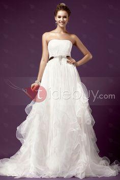 Luxurious, Wedding Dresses , $196.99, Luxurious Strapless Empire Tassel Chapel Train Ruffling Sandra's Wedding Dress
