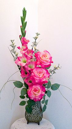 Silk Flower Arrangement with Tall Pink Gladiola and Roses in Vintage Look Green Metal Vase Artificial Floral Arrangement Spring Home Decor Gladiolus Arrangements, Tall Flower Arrangements, Artificial Floral Arrangements, Silk Floral Arrangements, Fake Flowers, Artificial Flowers, Silk Flowers, Beautiful Flowers, Memorial Flowers