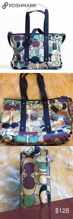 "Coach Daisy Kyra Signature Scarf Print Tote Bag Authentic #F17178 Multi Color DIMENSIONS: 14.75"" (L across top) 9.75"" (H) 4"" (D) RETAIL: $248 Signature Sateen Fabric Zip Closure With Leather Tassel Pull Patent Leather Trim and Silver Hardware Cotton Webbed Shoulder Straps With Leather Handle Grips and 7.25"" Drop Removable & Adjustable Long Shoulder Strap for Shoulder or Cross Body Wear Deep Slip Pocket Between Handles in Front of Bag Clear Acrylic Coach Hangtag Coach Patent Leather Hangtag…"