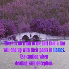There is no #TRUTH to the #FACT that a #LIAR will end up with their pants in flames. Use #CAUTION when dealing with #DECEPTION