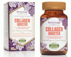 """Slows down aging process, decreases wrinkles, reduces deep creases. Stimulates stronger youthful skin and nails. LOOK FOR: """"Hydrolyzed Collagen"""". Take 2,000 MG each morning on an empty stomach. Reserveage Organics Collagen Booster. $12 per month."""