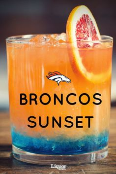 For the 2016 NFL season, we had a bartender from each #NFL team's hometown provide the perfect cocktail to represent their team.  For the Denver #Broncos orange and blue are showcased with a mixture of deliciousness including blue curaçao, chile liqueur, tequila, campari, aperol, orange juice and more! Together they become a true Broncos Sunset!