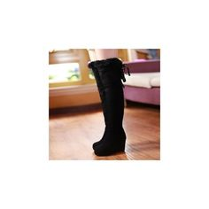 Genuine Leather Over The Knee Wedge Boots (£32) ❤ liked on Polyvore featuring shoes, boots, footware, faux leather boots, black wedge boots, real leather boots, leather boots and over knee boots
