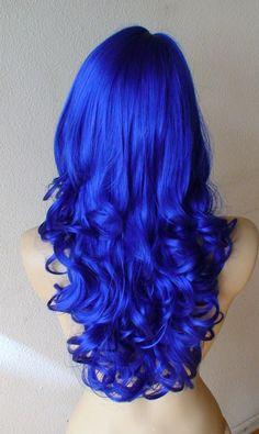 Halloween Special Blue wig. Long curly hair Wig. by kekeshop