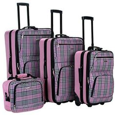 (Limited Supply) Click Image Above: Rockland Luggage 4 Piece Expandable Luggage Set Pink Plaid - Rockland Luggage Luggage Sets Luggage Sets, Travel Luggage, Travel Bags, Rockland Luggage, Skate Wheels, Cosmetic Case, Travel Style, Shoulder Strap, Tote Bag