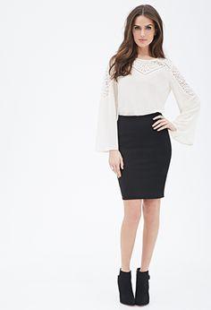 Black Textured Pencil Skirt | FOREVER21 - 2000118845 $13 (Set w/Skirt: $26)