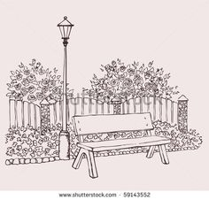 park bench sketch - Google Search