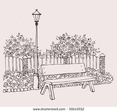 park bench sketch - Google Search