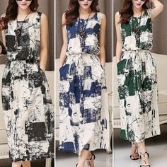 Elegant-Women-National-Wind-Sleeveless-Retro-Ink-Print-Cotton-Linen-Maxi-Dresses