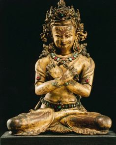 15th century, Nepal, Vajradhara, gilt copper alloy and stones, at the Rubin Museum of Art (USA).