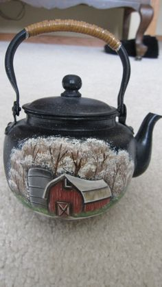Winter scene antique miniteapot by Paintiques on Etsy, $20.00