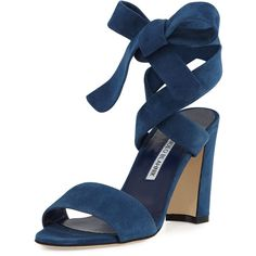 Manolo Blahnik Tondala Suede Ankle-Wrap Sandal (43.515 RUB) ❤ liked on Polyvore featuring shoes, sandals, blue, strappy sandals, adjustable strap sandals, criss cross sandals, blue suede shoes and ankle strap sandals