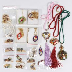 Lot 578: Cloisonne and Micro-Mosaic Jewelry Assortment; Including necklaces, pendants and pins