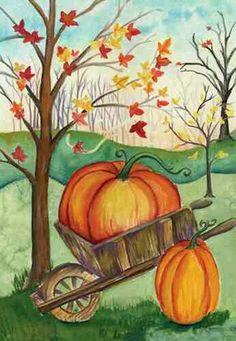 Cutest Pumpkin painting ever! Autumn trees and wheel barrel beginner painting idea.