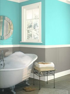 Galveston Gray, Caribbean Cool and Seapearl - paint colors from Benjamin Moore