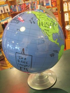 Dry erase, blank globe.  Write anything you want to create your own world!
