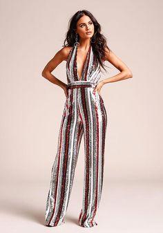 90982f6233 Multi Stripe Sequin Plunge Halter Jumpsuit