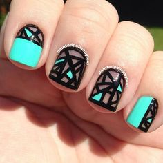 paintedpolish by lexi blue black bright graphic nail art design geometric shapes colour block: