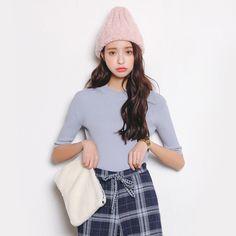 2016韩国东大门春夏新款圆领针织衫透视短袖T恤