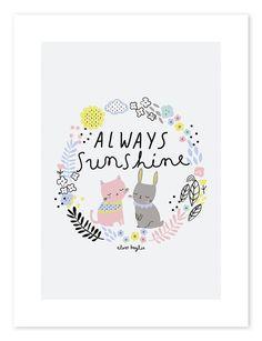 Lilipinso Kinderzimmer-Poster 'Always Sunshine' pastell 30x40cm bei Fantasyroom online kaufen
