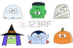 halloween cartoon: Halloween characters faces set. Ghost, green monster, mummy, witch, vampire and pumpkin