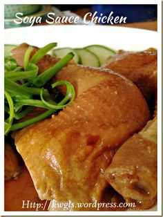 INTRODUCTION Soya sauce chicken is a rather classic Cantonese meat dish. The chicken was braised in some watery soya sauce such that it is brownish in colour and the texture of the meat is t… Soya Sauce Chicken, Soy Chicken, Yum Yum Chicken, Chicken Recipes, Asiago Chicken, Chicken Meals, Recipe Chicken, Soy Sauce, Chinese Chicken Dishes