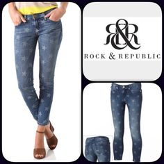 """""""Just In"""" Rock & Republic Faded Glory Skinny Jeans Fun skinny jeans by Rock & Republic. Measures approximately waist 15"""" across lying flat, rise 8.5"""", inseam 26"""". Size 2. 5 pocket design, zip fly with button closure. NWOT. Rock & Republic Jeans Skinny"""