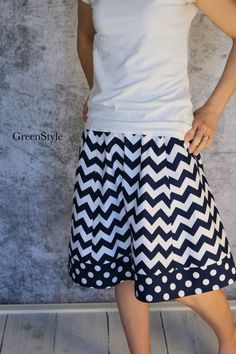 Nautical Navy and White and Chevron Aline Skirt by Gogreenstyle, $50.00