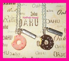 Bite Taken Sprinkle Doughnut BEST FRIEND Silver Plated BF Necklaces USA HANDMADE #HotPinkHawaii #Charm