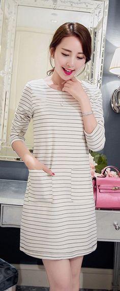 Long Sleeve Stripe Dress With Pockets